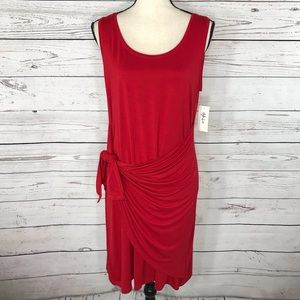 Style & Co Swing Dress Sleeveless Red Tie-Front